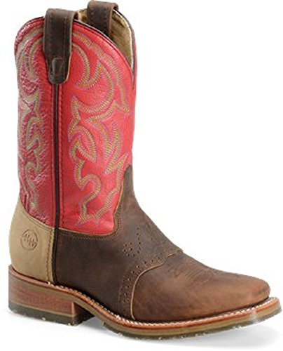 - Double H Men's Ice Outsole Durable Cowboy Boot with Red Shaft and Square Toe (Size 10D)