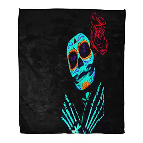 Golee Throw Blanket Young Girl Santa Muerte Saint Death Sugar Skull Bright Make 60x80 Inches Warm Fuzzy Soft Blanket for Bed Sofa -