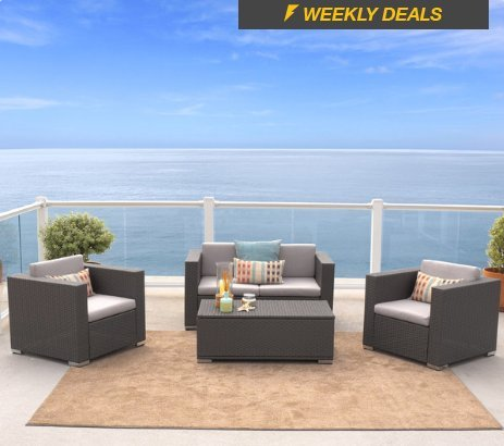 - Sofa Set 4-Piece Outdoor Wicker with Aluminum Frame, Murano Collection in Grey Finish