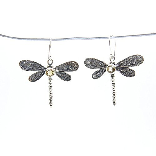 Mineral Import - Earrings, Filigree Dragonfly Citrine - ()