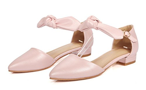 Aisun Womens Trendy Cutout Pointed Toe Buckled Ankle Wrap Dressy Heeled Sandals Chunky Low Heels Pumps Shoes With Bows Pink uQYt0t0