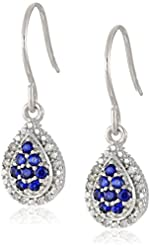 10k White Gold Created Sapphire and Diamond Drop Earrings (1/10cttw, I-J Color, I2-I3 Clarity)
