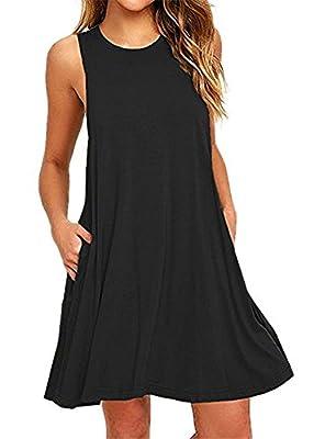 Bestisun Women's Sleeveless Pockets Casual Swing T-shirt Dresses