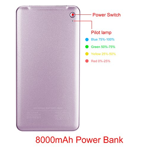 uxcell 8000mAh Portable Charger, Extremely Thin, Power Bank, Dual USB Ports, for iPhones, Android, iPads, Tablets, MP3, MP4 Players and Cameras, Purple by uxcell (Image #1)
