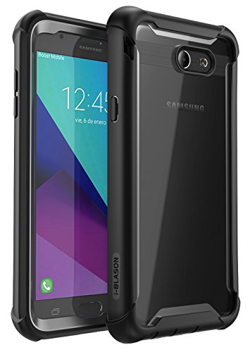 Galaxy J7 2017 Case, i-Blason [Ares] Full-Body Rugged Clear Bumper Case with Built-in Screen Protector for Galaxy J7 Sky Pro, Galaxy J7 Perx, Galaxy J7 V, Halo, Galaxy J7 Prime (2017 Release) (Black)