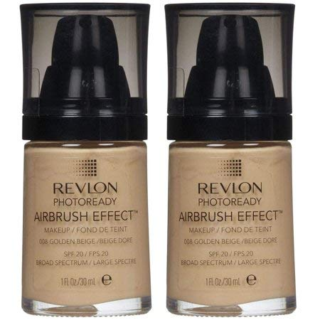 (Pack 2) Revlon PhotoReady Airbrush Effect Makeup, 008, Golden Beige