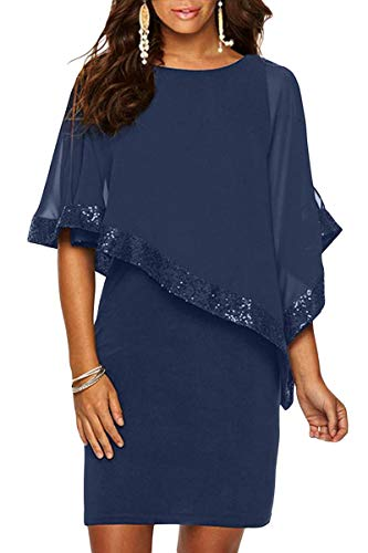 - QUEENIE VISCONTI Women Summer Casual Dresses -Sleeveless Sequined Poncho Mini Bodycon Party Dress Blue