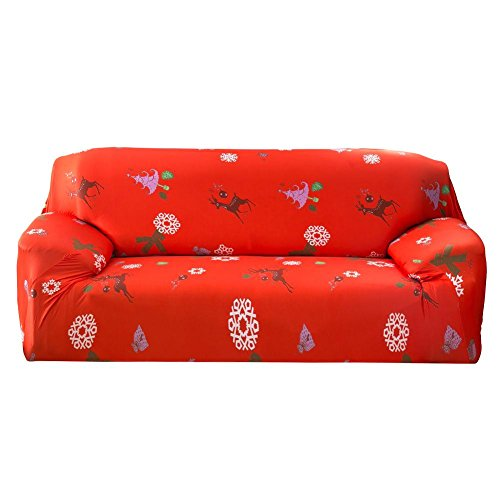Whitelotous Christmas Tree Printed Stretch Sofa Cover Couch