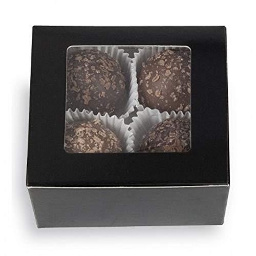 Black 4 pc. Ballotin with Window Boxes - 2-5/8 x 2-1/2 x 1-1/4in. (25)