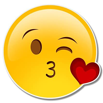 Amazon com: Kiss Wink Cute Emoji Vinyl Sticker - Car Phone