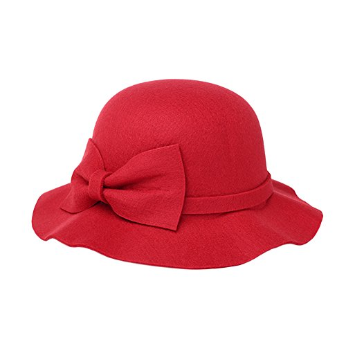 Women Leisure Wool Fedoras Outdoors Sun Visor Hats Female Autumn Winter Bowknot All-match Caps Red by ShiningLove