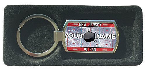 BRGIftShip Customize Your Own Hockey Team New Jersey Metal Keychain - Check Souvenir Cup