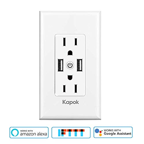 Smart WiFi Wall Outlet,Independently Controllable Top & Bottom Outlets, Works with Alexa Dot Echo Plus Google Assistant IFTTT,Duplex Receptacle,No Hub Required