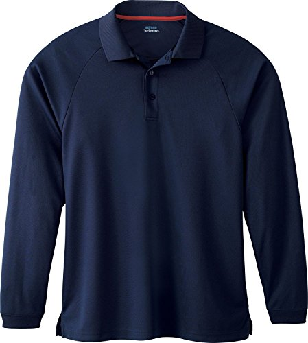 Men's E-Performance Long Sleeve Pique Polo Shirt, XL, Classic Navy W / Classi...