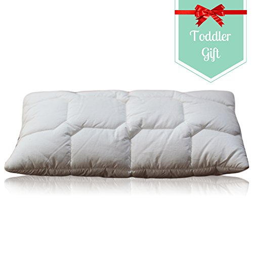 Toddler Pillow with Soft Cotton Cover - Nursery Bedding Designed by a Chiropractor and Mom of 4. Our Baby Pillow Helps Prevent Flat Head. Washable, Delicate Microfiber - Machine Wash and Dry. Small - no Pillowcase Needed- Kids Travel Pillow.