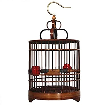DingDing Pet bird cage, bamboo cage accessories (Color : A)