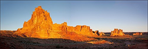 Contemporary Arches Collection - 12 x 36 inch panoramic sunset landscape wall art photograph of Red buttes sunset of mountain rock formation at Arches National Park, Utah.