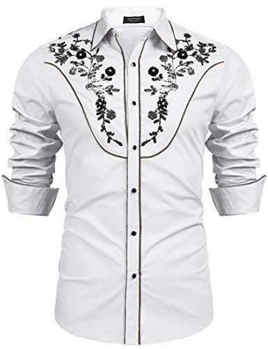 COOFANDY Mens Stylish Sequin Embroidered Long Sleeve Button Down Party Shirt,White,Medium
