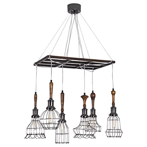 Industrial vintage pendant light rustic wood grid chandelier max yunji industrial vintage pendant light rustic wood grid chandelier max 240w with 6 multi shade cage lights aloadofball Images
