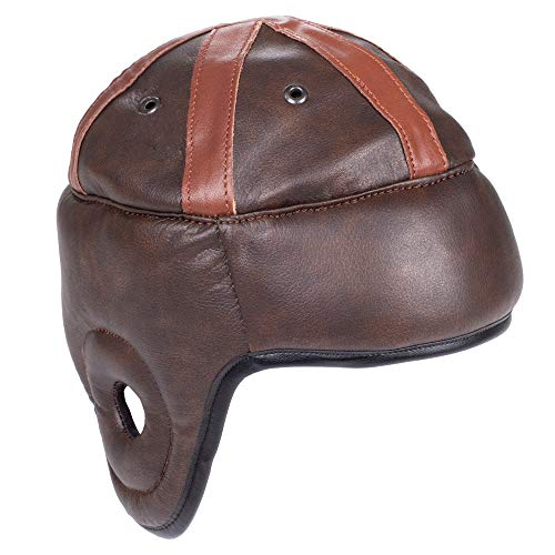 Crown Sporting Goods Vintage Leather Football Helmet | American Football Memorabilia & Collector's Item for Display Cases, Museums, Fan Rooms, Man Caves | Authentic Leather Helmet, Leatherhead Style