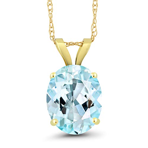 Gem Stone King 3.00 Ct Oval Sky Blue Topaz 14K Yellow Gold Pendant With Chain ()