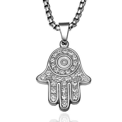 Max corner Hamsa Fatima Hand Necklace, Stainless Steel Pendant Charm with Chain Crystal Evil Eye Religious Jewelry for Women (Silver) ()