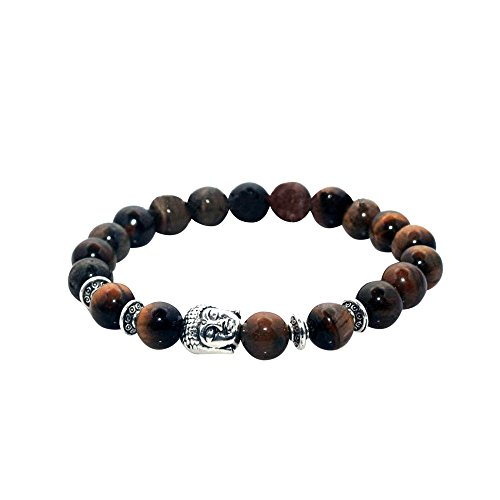 Head Charm Natural Marble Stone Elastic Bracelet (Tiger Eye Silver) (Gold Plated Tiger Charms)