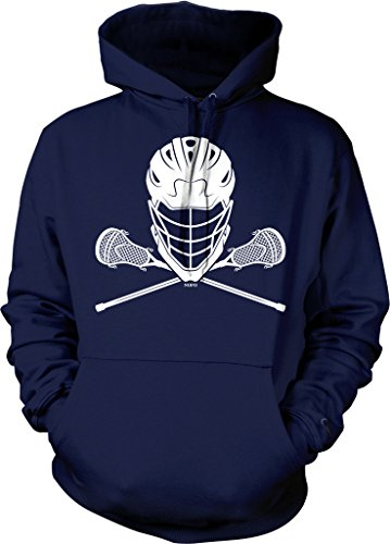 NOFO Clothing Co Lacrosse Helmet and Sticks Hooded Sweatshirt, L Navy (Lacrosse Stick And Eyewear)