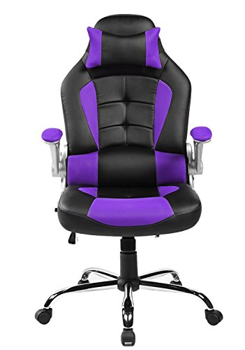 Merax King Series High-back Ergonomic Pu Leather Office Chair Racing Style Swivel Chair Computer Desk Lumbar Support Chair Napping Chair (Purple) (Purple Chair Computer)