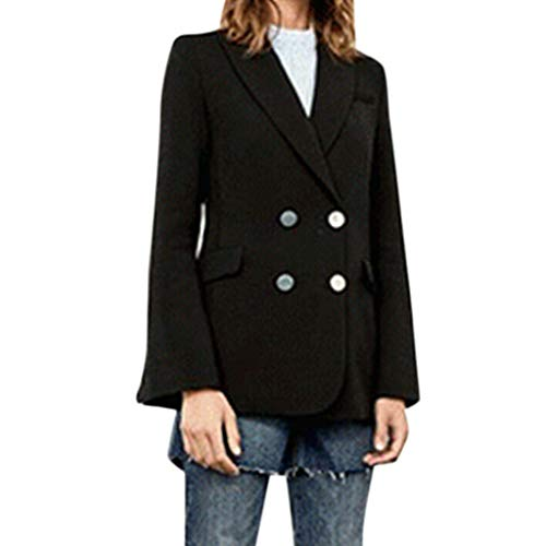 Forthery-Women Basic Designed Notch Lapel Double Breasted Mid-Long Wool Pea Coat Outwear(Black,M)