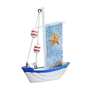 MagiDeal Modelo de Barco Barco Net Velo atisanal de Madera náutico decoración réceptions de Club casa