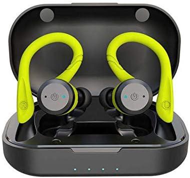 LLDKA Auriculares inalámbricos, Auriculares Bluetooth V5.0 en el oído, Auriculares inalámbricos con Sonido estéreo micrófono Impermeable Mini Sport Auriculares,Verde