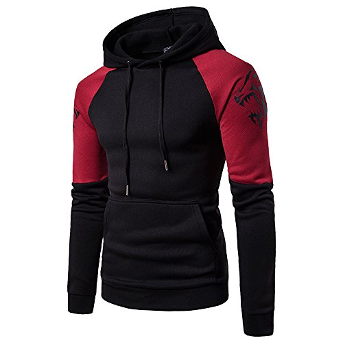 (Patchwork Sweatshirts BOOMJIU Mens Cowl Neck Pullover Hoodies Drawstring Sweater Long Sleeve Casual Blouses Tops (M,)
