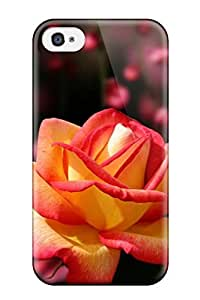 Flexible Tpu Back Case Cover For Iphone 4/4s - Lovely Yellow And Pink Flower