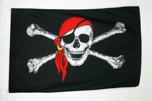 AZ FLAG Bandiera Pirata con Bandana Rosso 180x120cm Gran Bandiera dei Pirati Teschio 120 x 180 cm