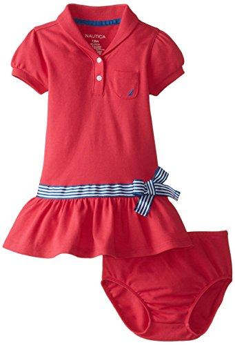 Nautica Baby Girls' Shawl Collar Pique Polo Dress, EKO Magenta, 18 Months
