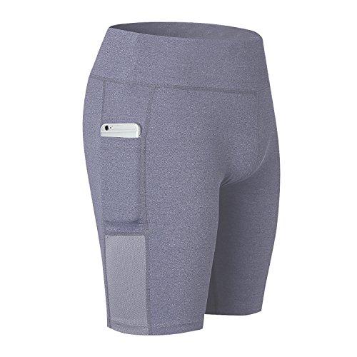 Beurlike Women's High Waist Yoga Shorts Tummy Control Running Pants Side Pockets (Grey, XX-Large)