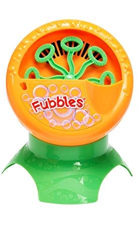 Little Kids Fubbles Bubble Blastin' Bigger Bubbles Kids Automatic Party Machine and Includes 4oz of Bubble Solution Toy, Orange -