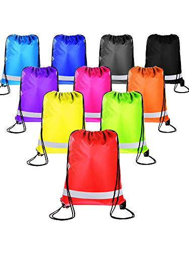 Shappy 10 Pieces Drawstring Bag Sack Pack Cinch Tote Kids Adults Storage Bag for Gym Traveling (Reflective Multicolored)