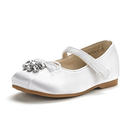 DREAM PAIRS Little Kid Aurora-02 White Girl's Mary Jane First Communion Flat Shoes Size 3 M US Little Kid