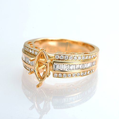Nice 10X5mm Marquise Cut 14K Yellow Gold Diamond Semi Mount Ring (6) (Semi Ring Mount Marquise Setting)