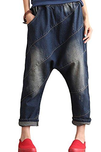 Vogstyle Femme Pantalons Casuel Ample Taille Elastque Style 4-blue