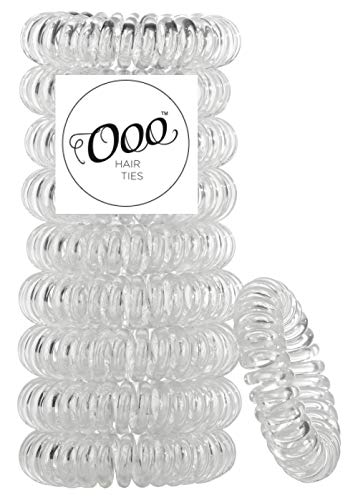 10 pack Painless PATENTED OOO Hair Ties. Ponytail holder spiral coil traceless rubber bands. Accessory for all types of hair. Exercise, work & everyday. LARGE SIZE (Clear)
