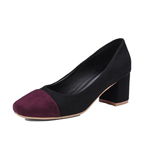 Amoonyfashion Mujer Imitado Gamuza Pull-on Cerrado-toe Kitten-heels Bombas-zapatos Negro