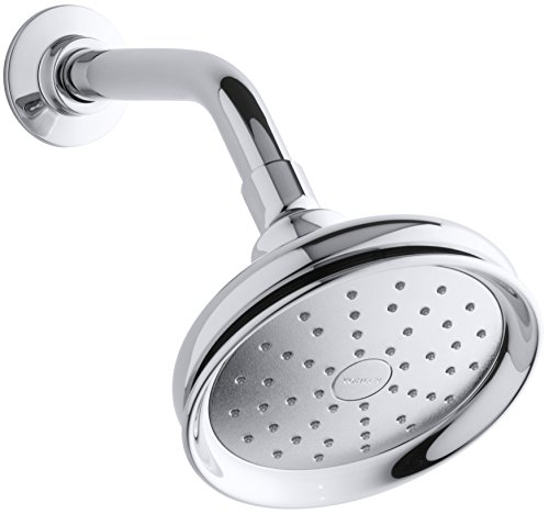 KOHLER 45412-CP Fairfax Single Function Wall Mount Showerhead with Katalyst Air Induction Spray 20 GPM Polished Chrome