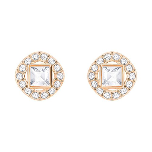 Swarovski Crystal White Angelic Square Rose-Gold Plated Earrings