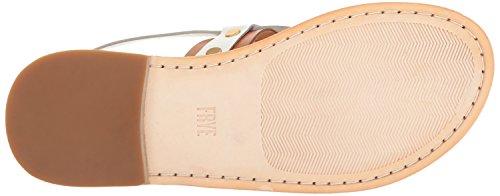 Frye Womens Avery Stud String Vlakke Sandaal Wit / Multi