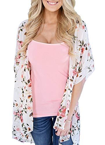 Women Relaxed Printed Chiffon Cardigan Blouse Floral Beach Shawl Kimono Jacket Tops White Size L