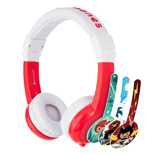 BuddyPhones Explore Foldable, Volume-Limiting Kids Headphones, Foldable Headband with Travel Bag, Built-in Audio Sharing Cable with Mic, Compatible with Fire, iPad, iPhone, and Android Devices, Red