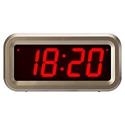 ChaoRong Small Battery Operated Digital LED Alarm Clock with 1.2 Large Display for Bedrooms or Anywhere. 4pcs Batteries Can Keep the Time Display Day and Night for More Than One Year (Golden)